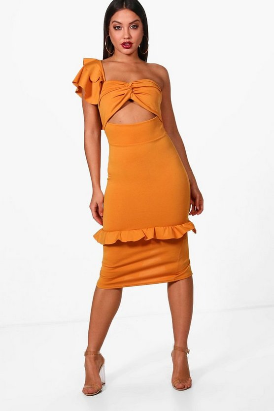One Shoulder Frill Detail Midi Dress