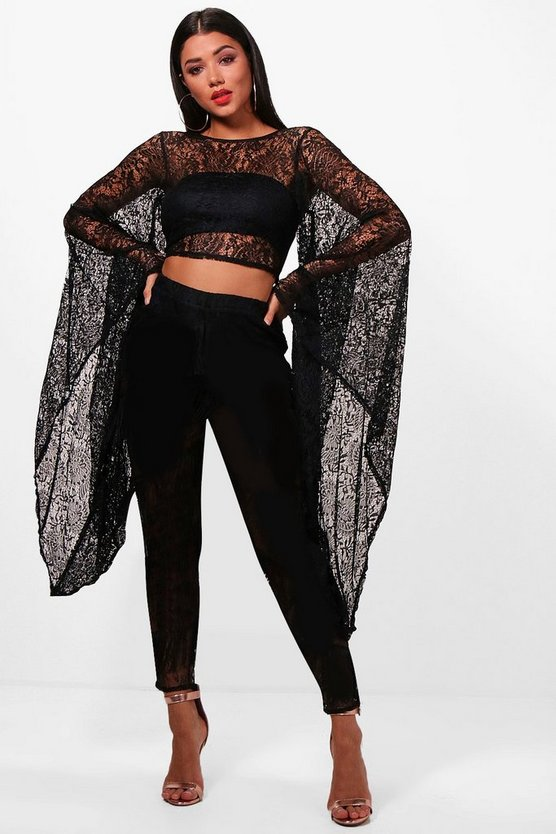 Ava Extreme Sleeve Lace Low Back Crop