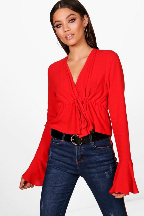 Tie Front Frill Cuff Blouse