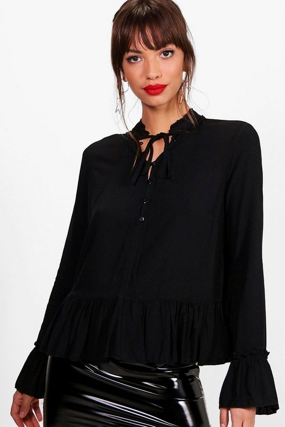 Victoria Ruffle High Neck Tie Front Blouse