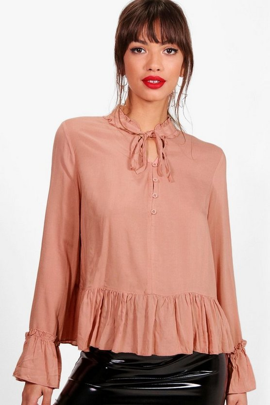 Victoria Ruffle High Neck Tie Front Blouse by Boohoo