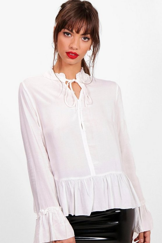 Ruffle High Neck Tie Front Blouse