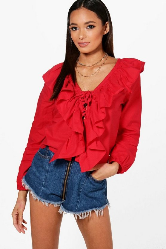 Plunge Lace Up Woven Ruffle Blouse