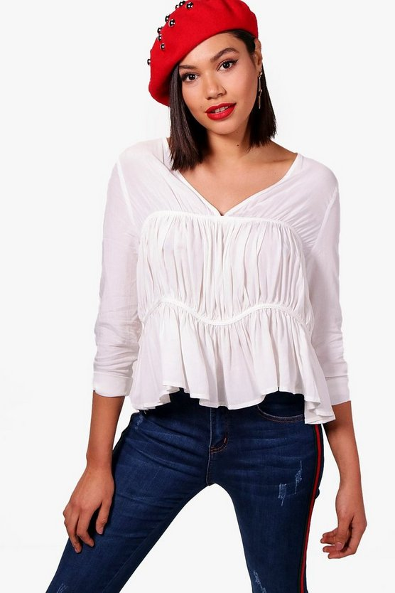 Gathered Front V Neck Blouse
