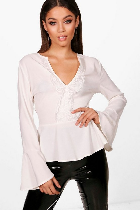 Lace Plunge Woven Peplum Top