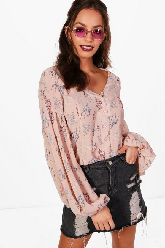 Emy Floral Balloon Sleeve Blouse