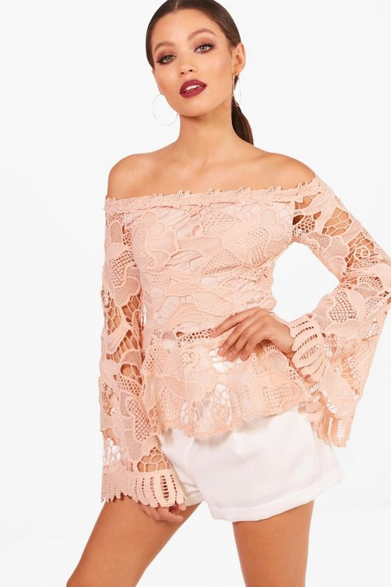 Corded Lace Flare Sleeve Peplum Top