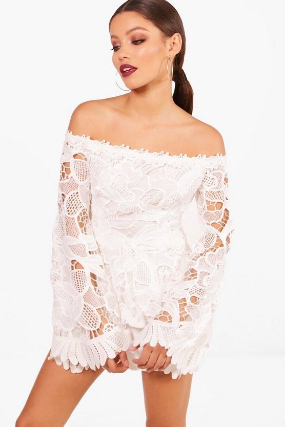 Anna Corded Lace Flare Sleeve Peplum Top