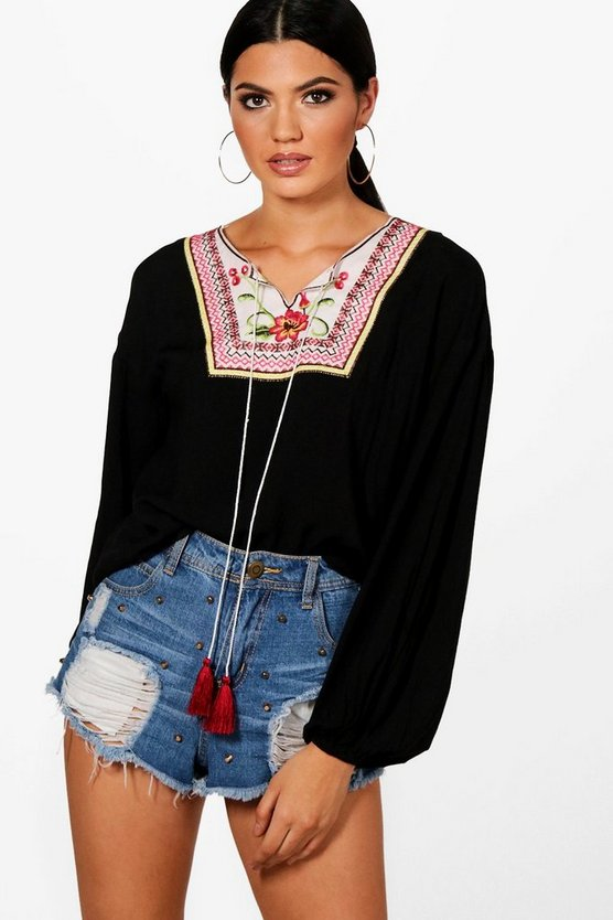 Embroidered Tassel Oversized Blouse