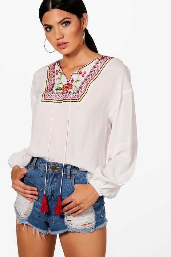 Millie Embroidered Tassel Oversized Blouse