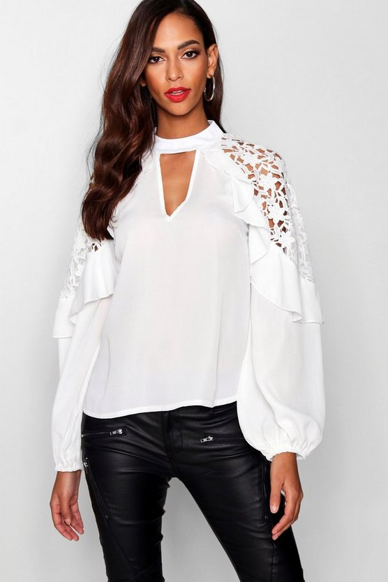 Crochet Insert Ruffle Shoulder Blouse