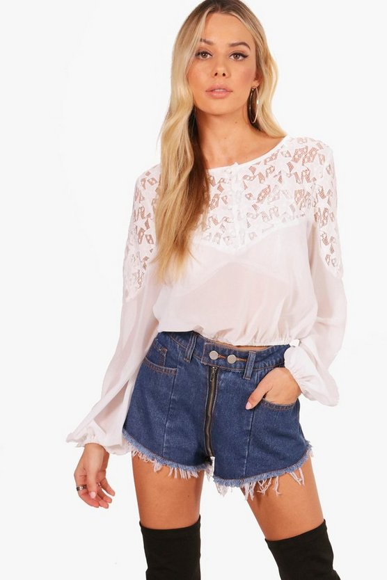 Emma Star lace Panel Crop Blouse