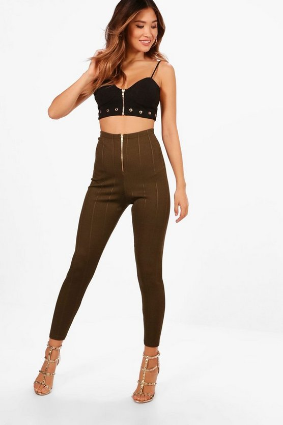 Becky Zip Front Bandage Leggings