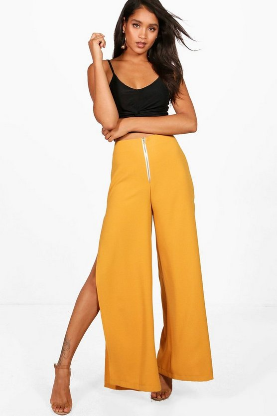 Megan Woven Extreme Split And Zip Wide Leg