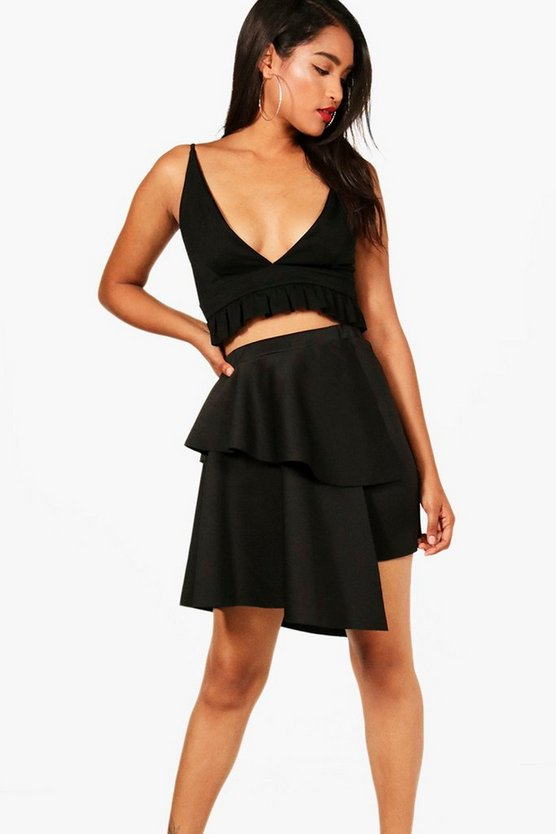 Double Layer Asymetric Mini Skirt