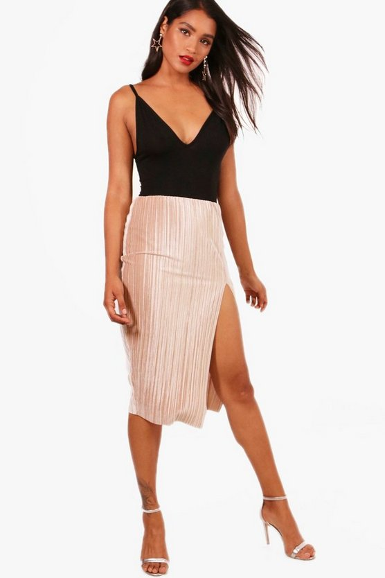 Mia Thigh Split Pleated Velvet Midi Skirt