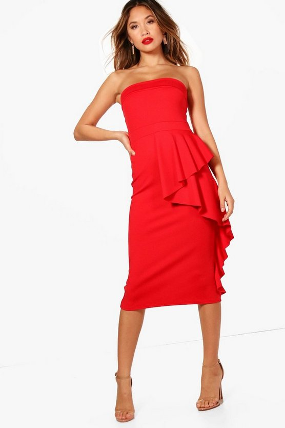 Erin Bandeau Ruffle Detail Midi Dress