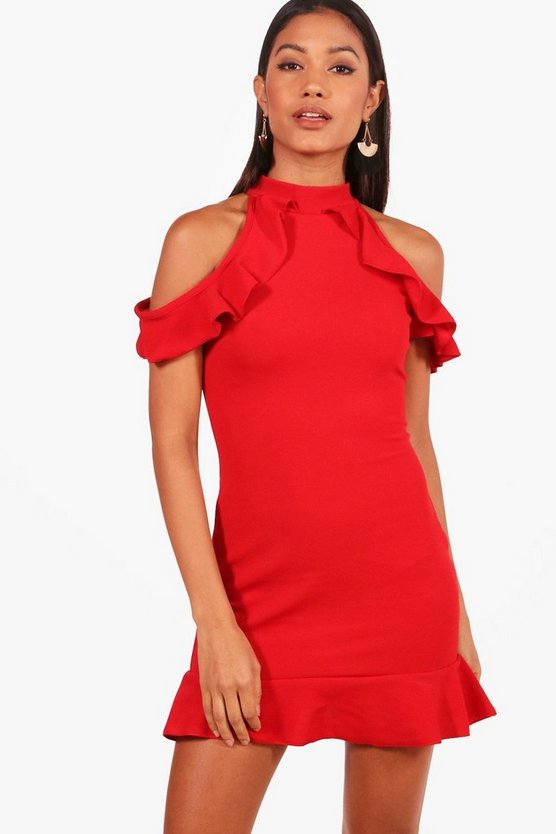 Mia Ruffle Cold Shoulder Bodycon Dress