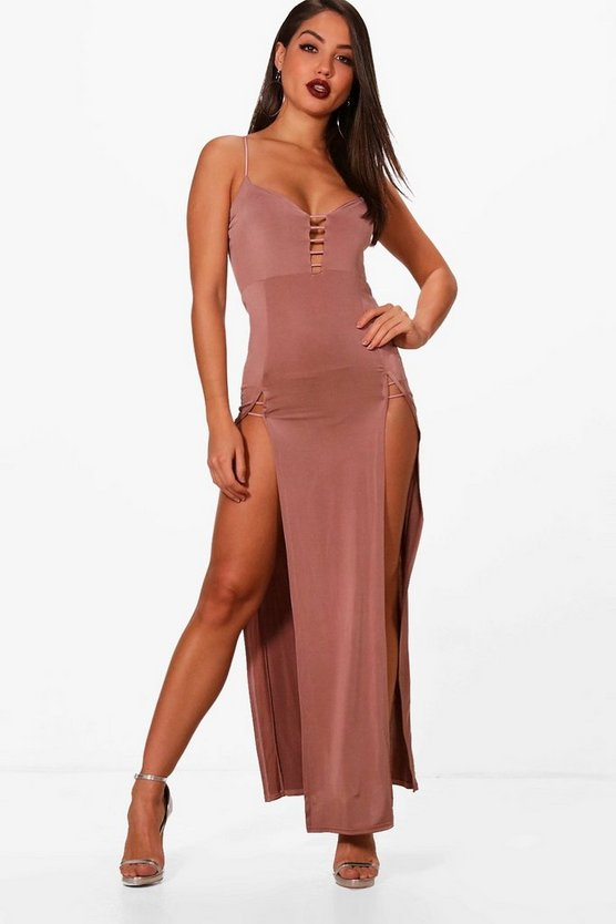 Strappy Plunge Double Split Maxi Dress