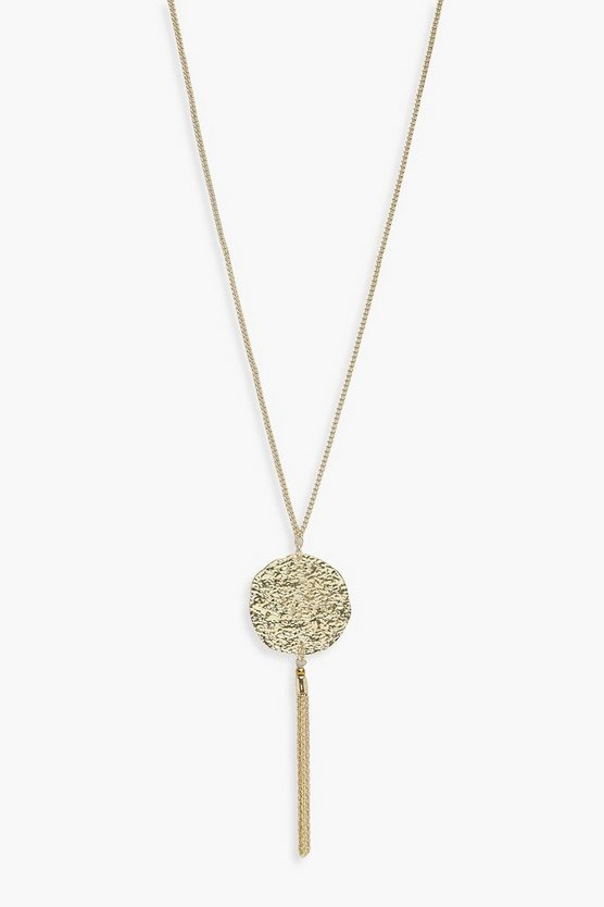 Moira Hammered Coin Metal Tassel Necklace