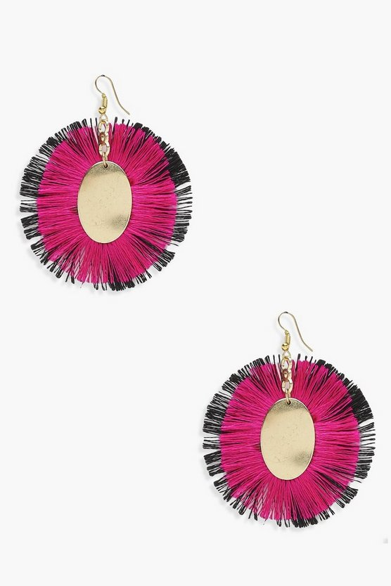 Ally Oval Plaque Layered Tassel Earrings