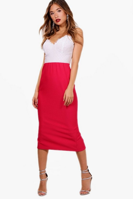 Deep Rib Long Line Midi Skirt