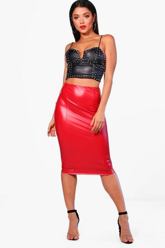 Alice High Waist Seam Front Leather Look Midi Skirt