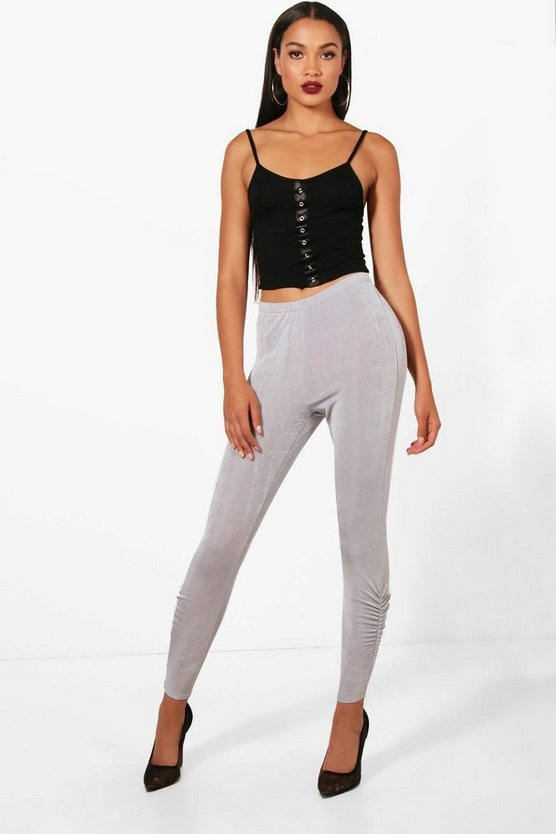 Textured Slinky Rouched Hem Leggings