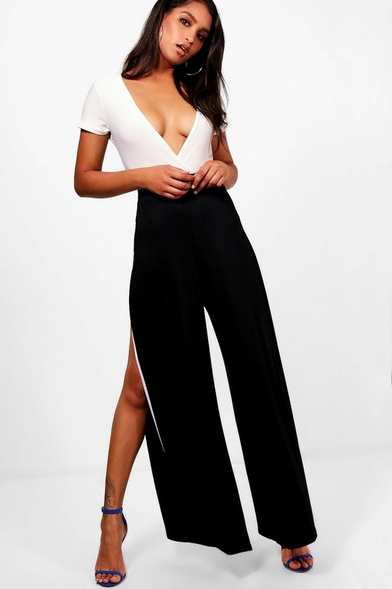 Leonie Thigh Split Contrast Wide Leg Trouser