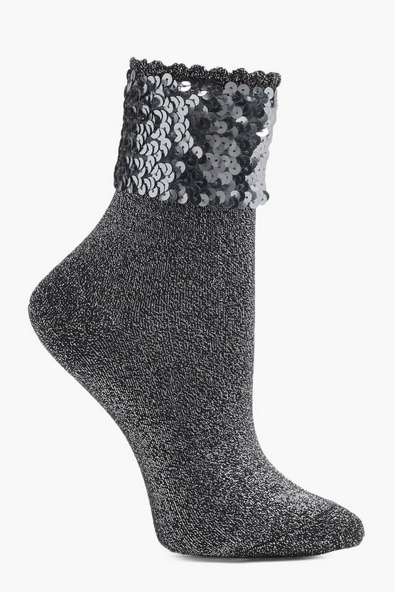 Megan Sequin Top Glitter Ankle Socks