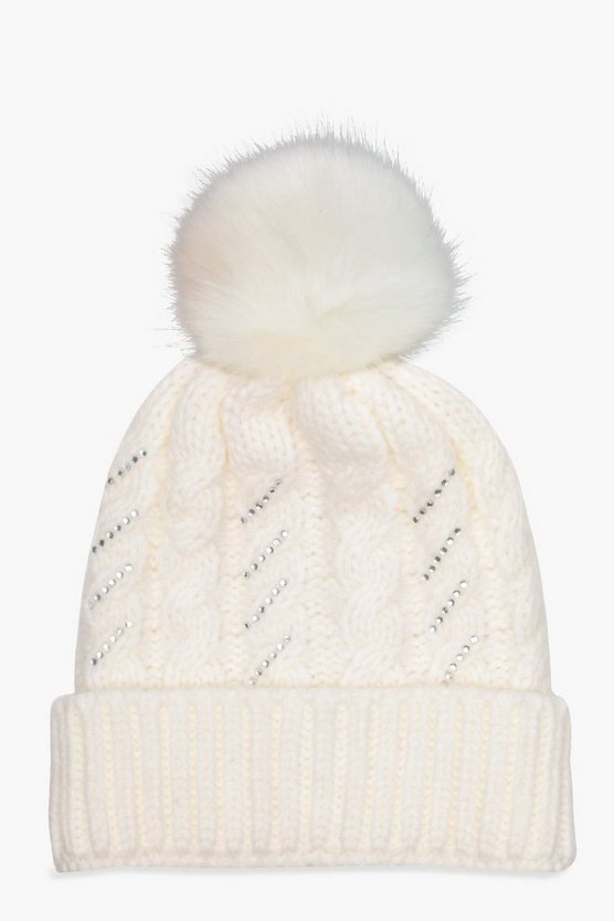 Mel Cable Knit Embellished Faux Fur Pom Beanie