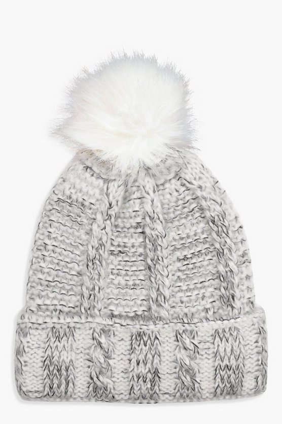 Fleece Lined Knitted Pom Beanie