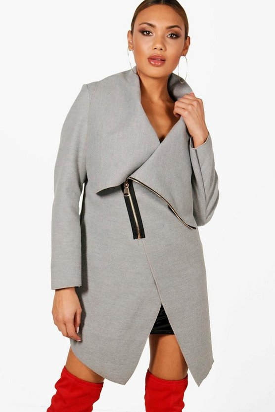 Lola Zip Up Wool Look Coat