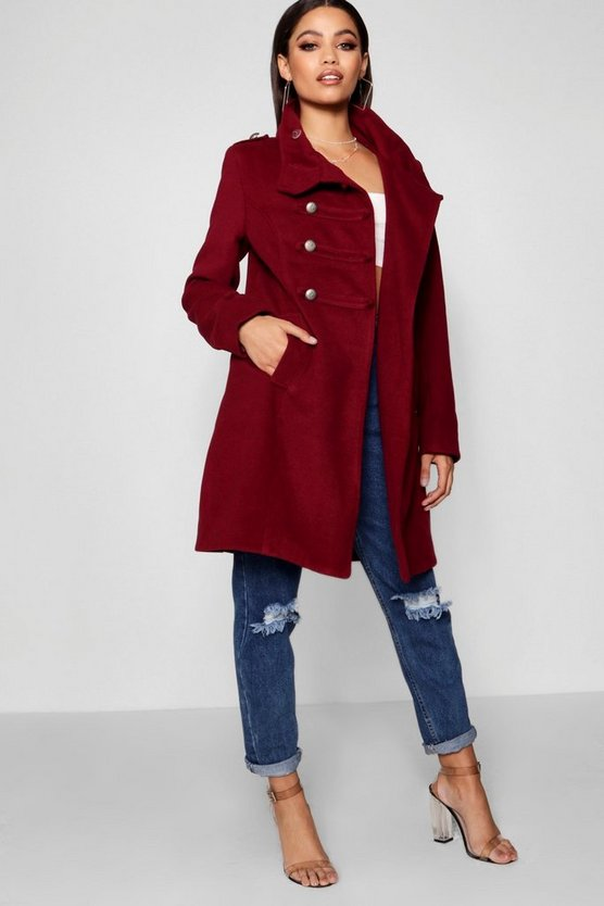 Hannah Military Wool Look Coat