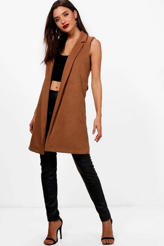 Emmy Sleeveless Tailored Wool Look Coat