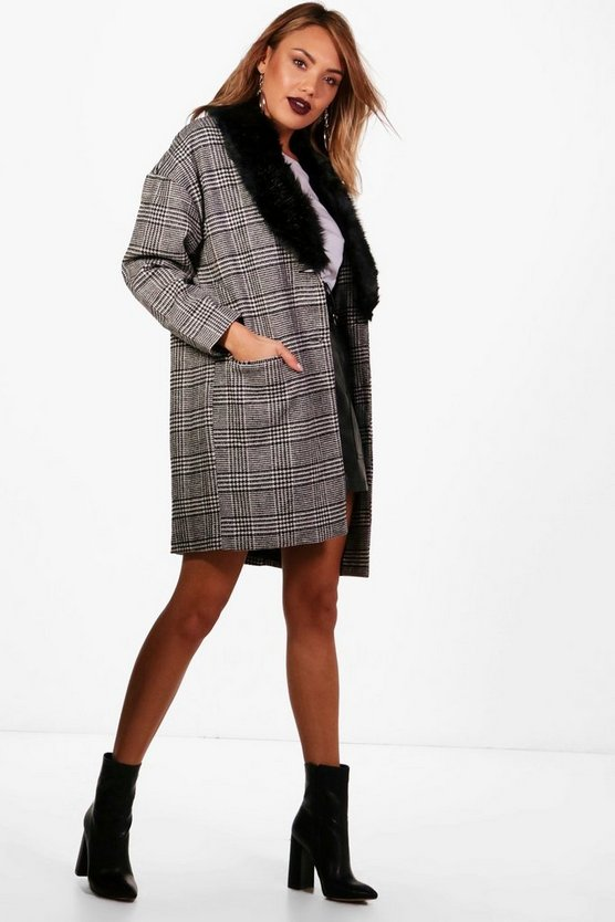 Molly Faux Fur Trim Check Coat