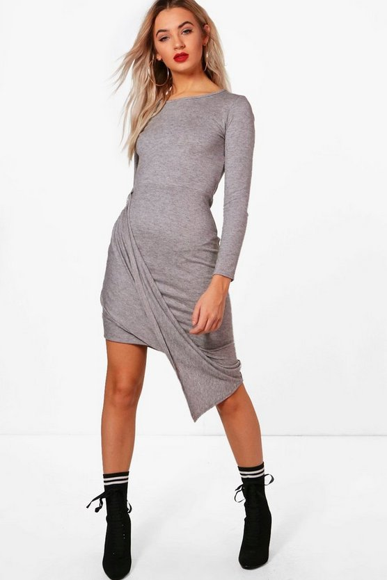 Danielle Drape Front Wrap Detail Midi Dress