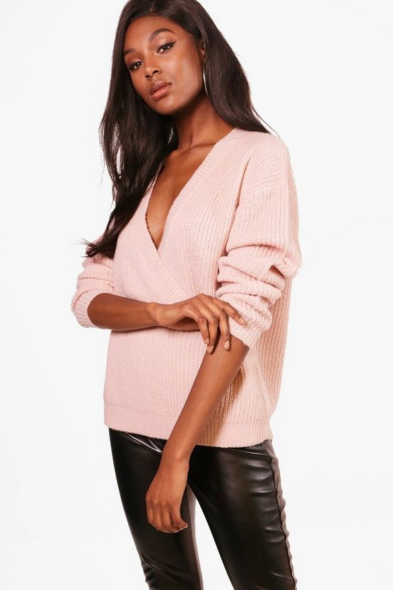 Millie Plunge Wrap Over Soft Knit Jumper
