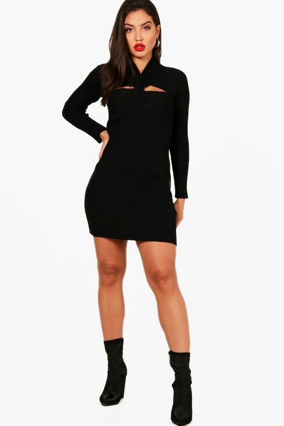 Rib Knitted Bodycon Twist Neck Dress