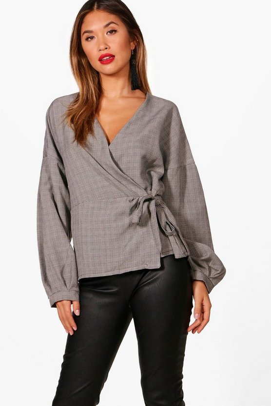 Megan Check Wrap Top