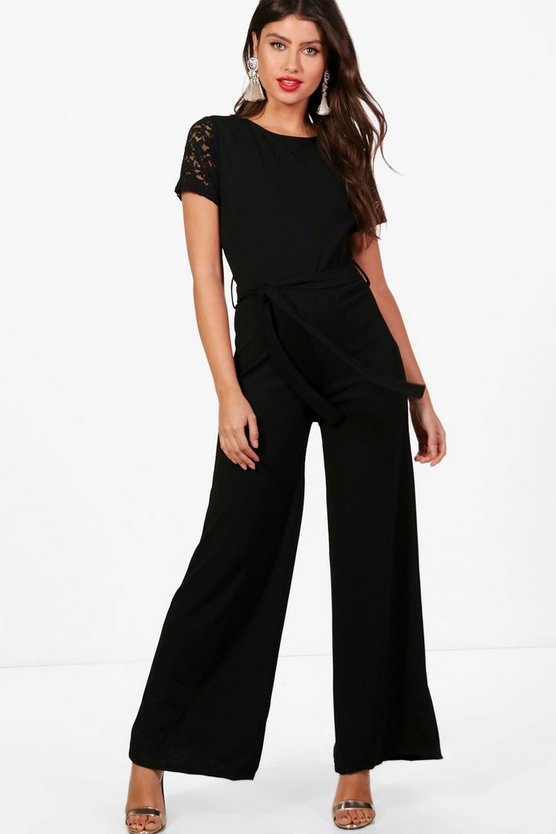 Lucy Lace Sleeve Belted Jumpsuit