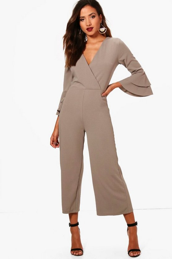 Harriet Frill Sleeve Belted Tailored Jumpsuit