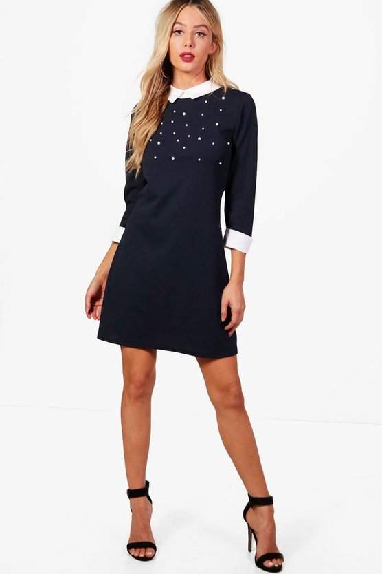 Olivia Pearl Embellished Shirt Dress