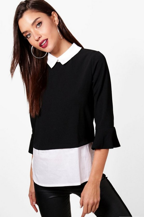 Polly Mock Shirt 2 IN 1 Top