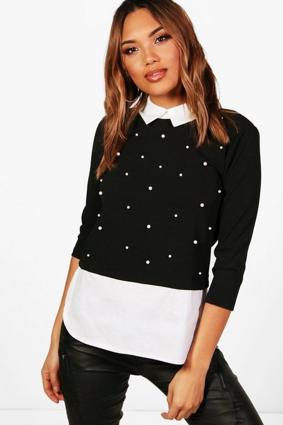 Maisy Pearl Embellished 2 IN 1 Top