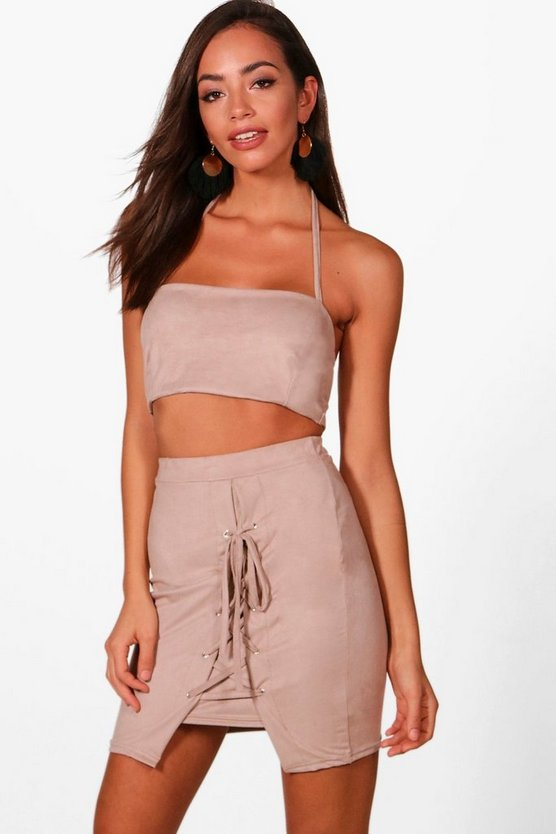 Maisy Suedette Bralet and Lace Up Mini Skirt