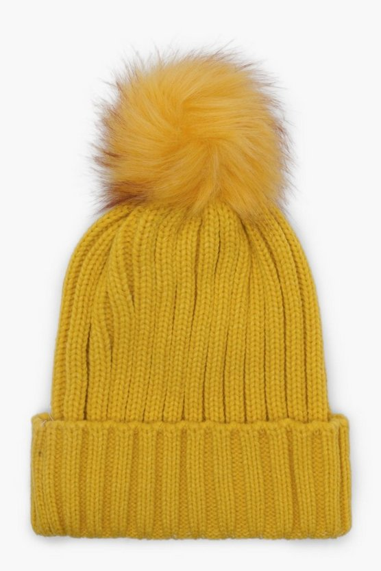 Katy Bright Tipped Faux Fur Pom Beanie