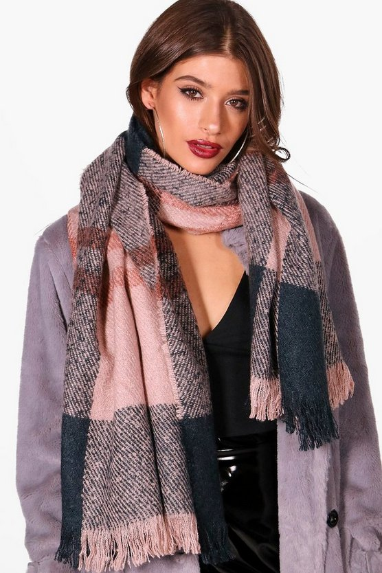 Amy Check Boucle Woven Scarf