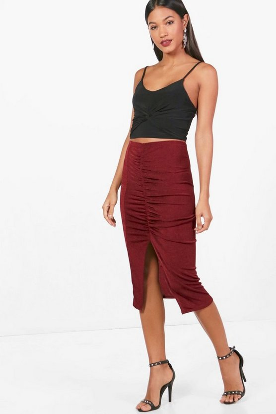 Heather Rouched Split Front Slinky Midi Skirt