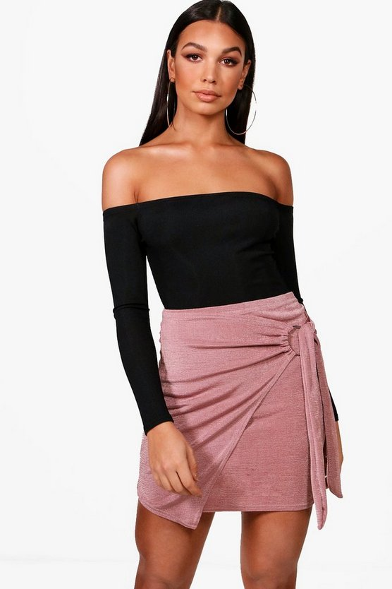 O Ring Wrap Tie Mini Skirt